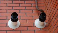 Коаксиальный дымоход с наружи здания