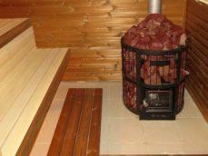 Чугунная печь с каменкой